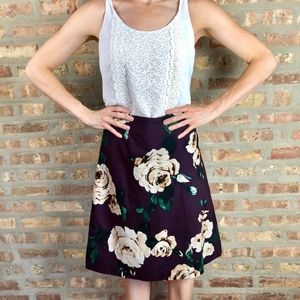 Anthropologie Plum Floral A-Line Skirt by Peony
